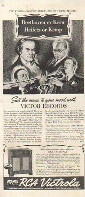 1940 RCA Victrola Model U-40 Victor Records Beethoven Heifetz Kemp Kern 40s Ad