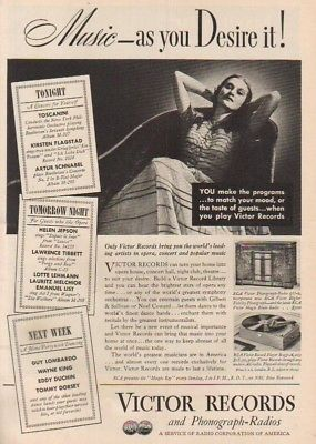 1937 RCA Victor Records Phonograph~Radio Record Player~Music As You Desire It Ad