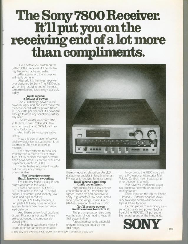 1977 Sony 7800 STR-7800SD Receiver Amplifier Tuner Audio Vintage Print Ad 70s