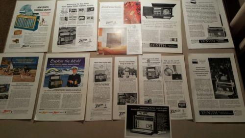 LOT OF 13 1954-1961 ZENITH RADIO PRINT ADS MAGAZINE ADVERTISING VINTAGE