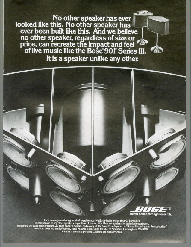 1977 Bose 901 Series III Speakers Cutaway Home Audio HiFi Vintage Print Ad 70s