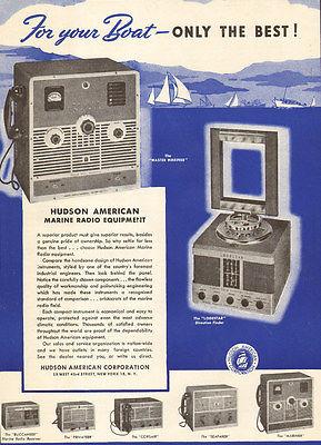1947 vintage boating AD HUDSON AMERICAN Marine Radio Equipment 022016
