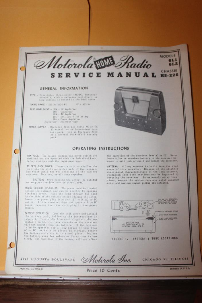 Vintage Motorola Radio Service Manual Model 6L1 6L2 HS-226 Rare