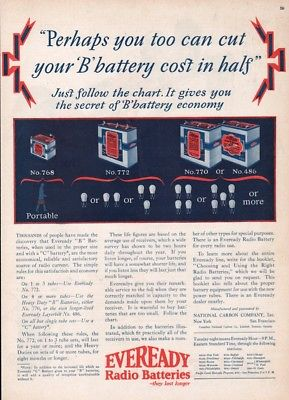 1926 Eveready Tube Radio Battery National Carbon NYC Vintage Magazine Print Ad