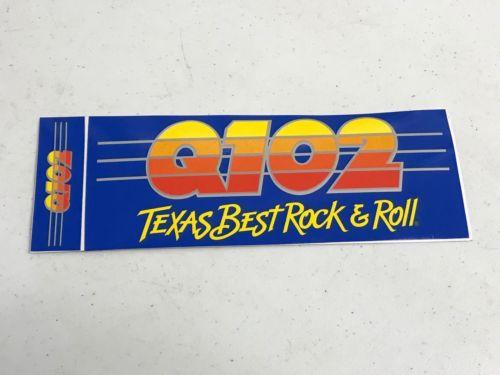 Superior Vintage Radio Station Bumper Sticker Q102 Texas Rock n Roll