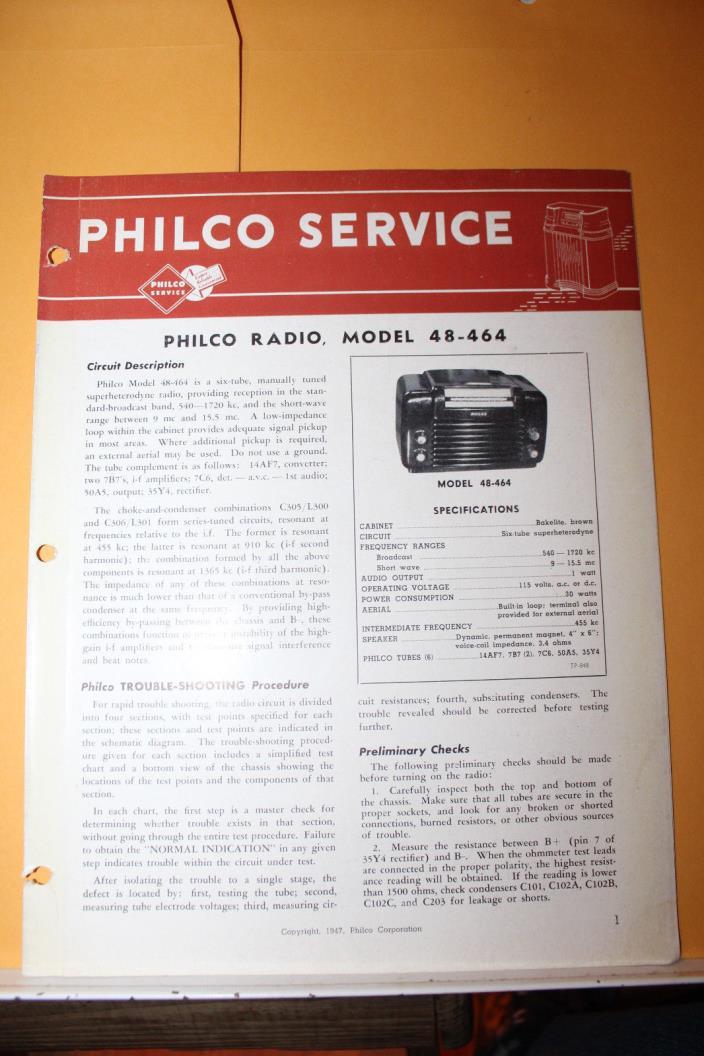 Vintage 1947 Philco Radio Service Data Model 48-464 Rare Bakelite