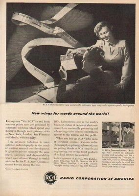 1947 RCA Radio Radiograms Automatic Tape Relay System 1940s Vintage Magazine Ad