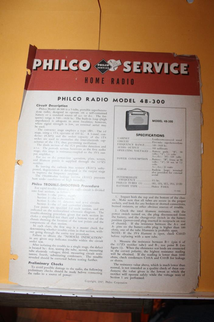 Vintage 1947 Philco Radio Service Data Model 48-300 Rare