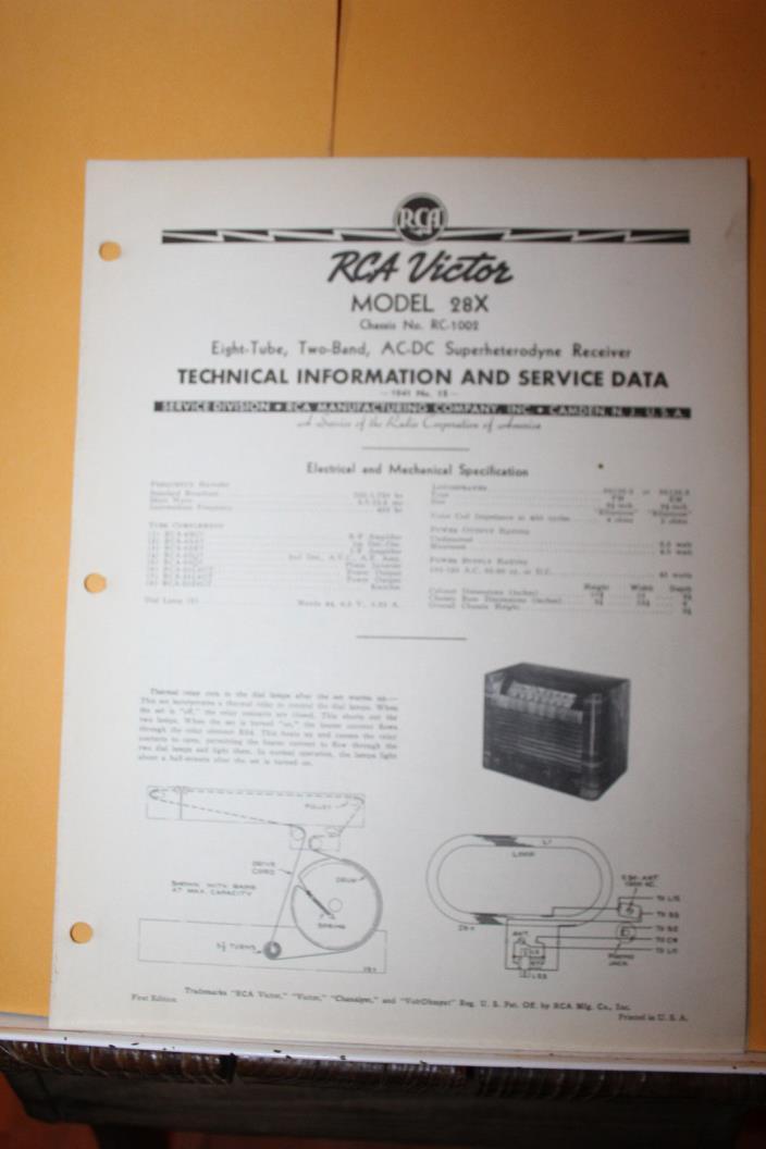 Vintage 1941 RCA Victor Service Data Model 28X RC-1002 Radio Receiver Rare