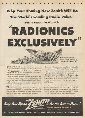 1945 Zenith vintage Radio tube Radionic print ad : Vintage Advertising
