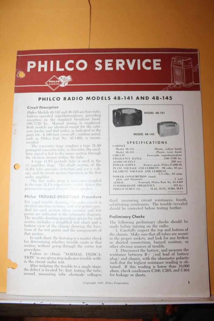Vintage 1947 Philco Radio Service Data Model 48-141 48-145 Rare