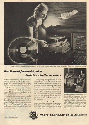 1946 RCA Victrola Radio Phonograph 40s Record Player Ad