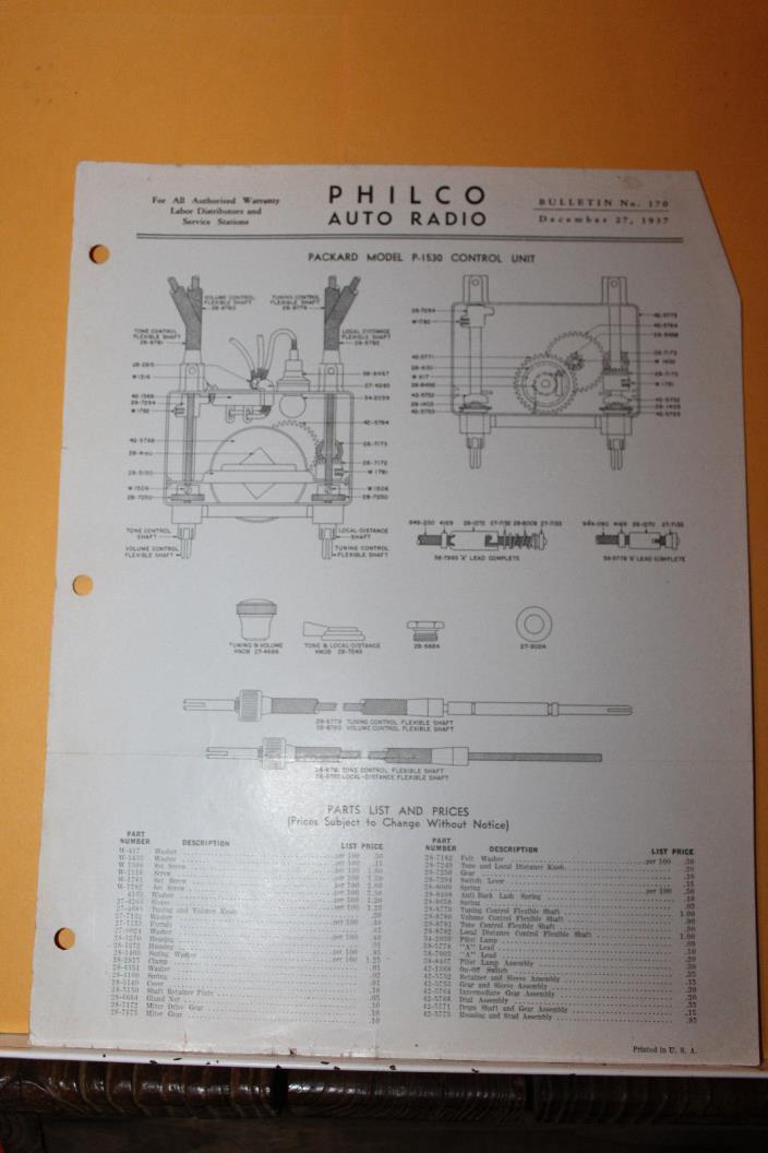 Vintage 1937 Philco Auto Radio Service Data Packard Model P-1530 Rare