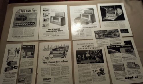LOT OF 10 1950-1960's VARIOUS RADIO PRINT ADS MAGAZINE ADVERTISING VINTAGE