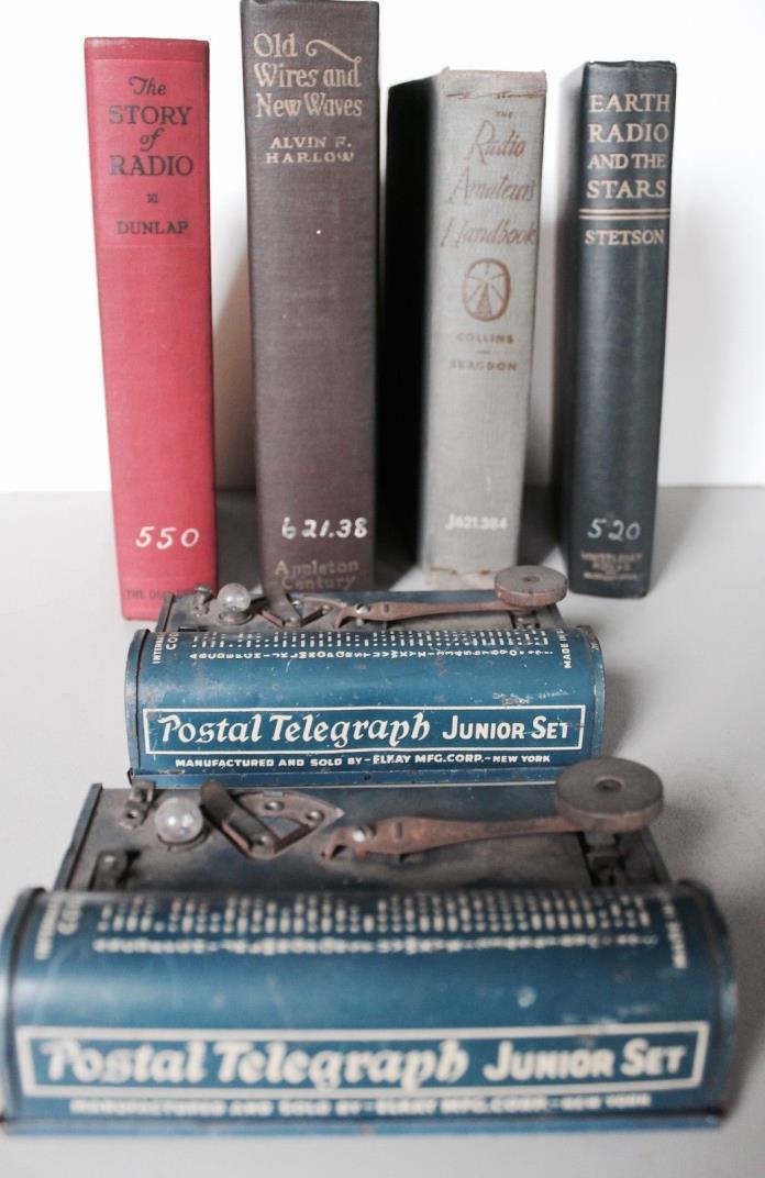 Pair Vintage TRI-SIGNAL Postal Telegraph Sets by ELKAY Mfg. w/ Lot of Handbooks