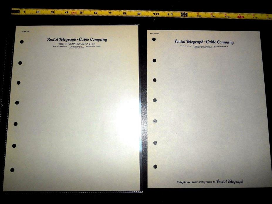 2 Vintage Blank Postal Telegraph Cable Company Letterhead International Canada