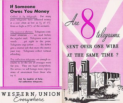 RARE 1933 WESTERN UNION BROCHURE WITH PINK ART DECO BUILDINGS WORLD'S FAIR COP