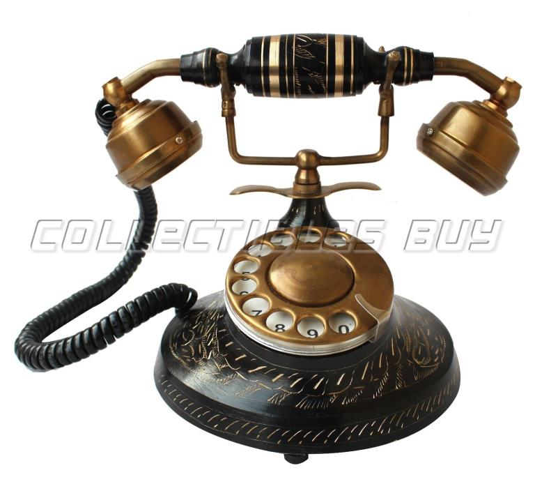 Black Antique Telephone American Rotary Dial Phone Fully Functional Article