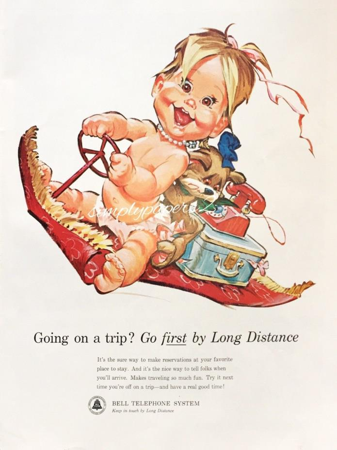 1963 Bell Telephone System Baby Betsy Bell Driving Flying Red Carpet Print Ad