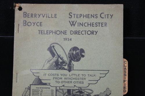 1934 Northern Virginia Phone Book Winchester Stephen City