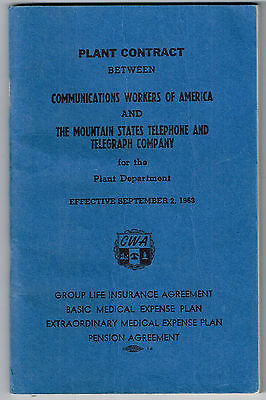Vintage 1963 PLANT CONTRACT Mountain States Telephone & Telegraph Co. and CWA