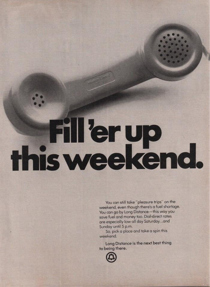1974 Fill'er Up This Weekend Telephone Receiver Long Distance Photo Print Ad