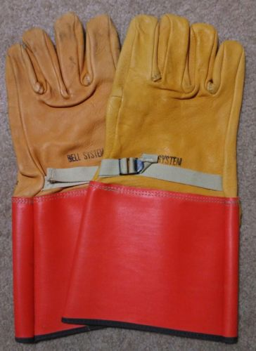 Vintage Scarce BELL SYSTEM LEATHER WORK GLOVES ... PAT APPLIED FOR!!!