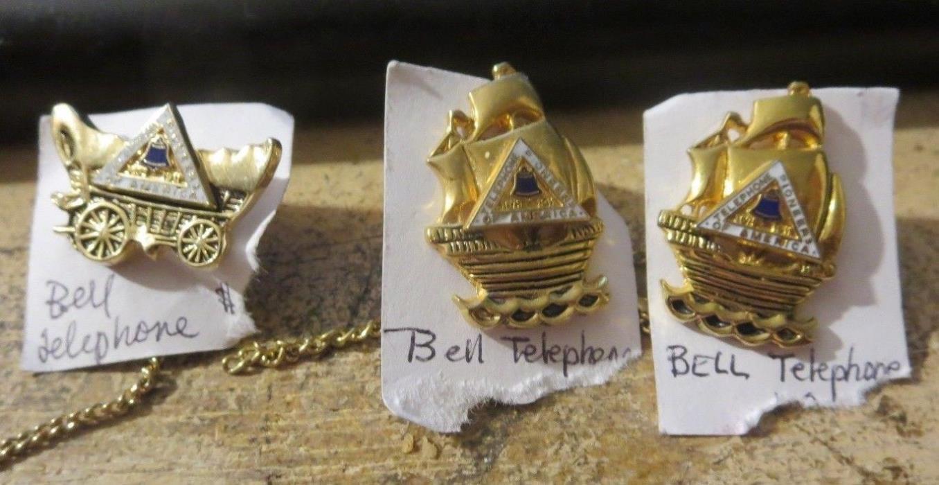 vintage group of 3 Bell Telephone Pioneers of America Lapel Tie Tack Pins