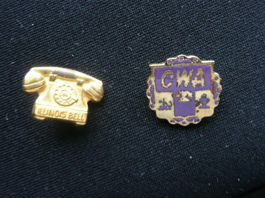 Vintage Illinois Bell Telephone and CWA Lapel Pins.  New Pics!