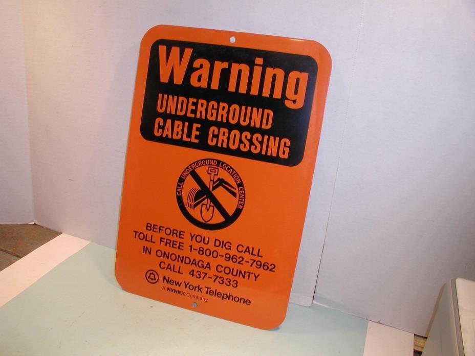 Vintage New York Telephone Underground Cable Warning Sign Orange and Black