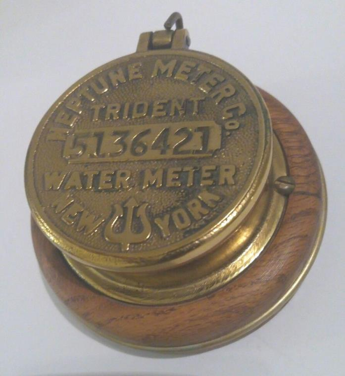Old NEPTUNE Meter Co TRIDENT Water Meter NEW YORK Brass mounted on wood Music