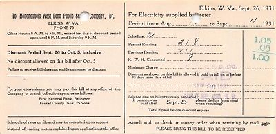 ELKINS WEST VIRGINIA-MONONGAHELA WEST PENN PUBLIC SERVICE COMPANY-ELECTRIC BILL