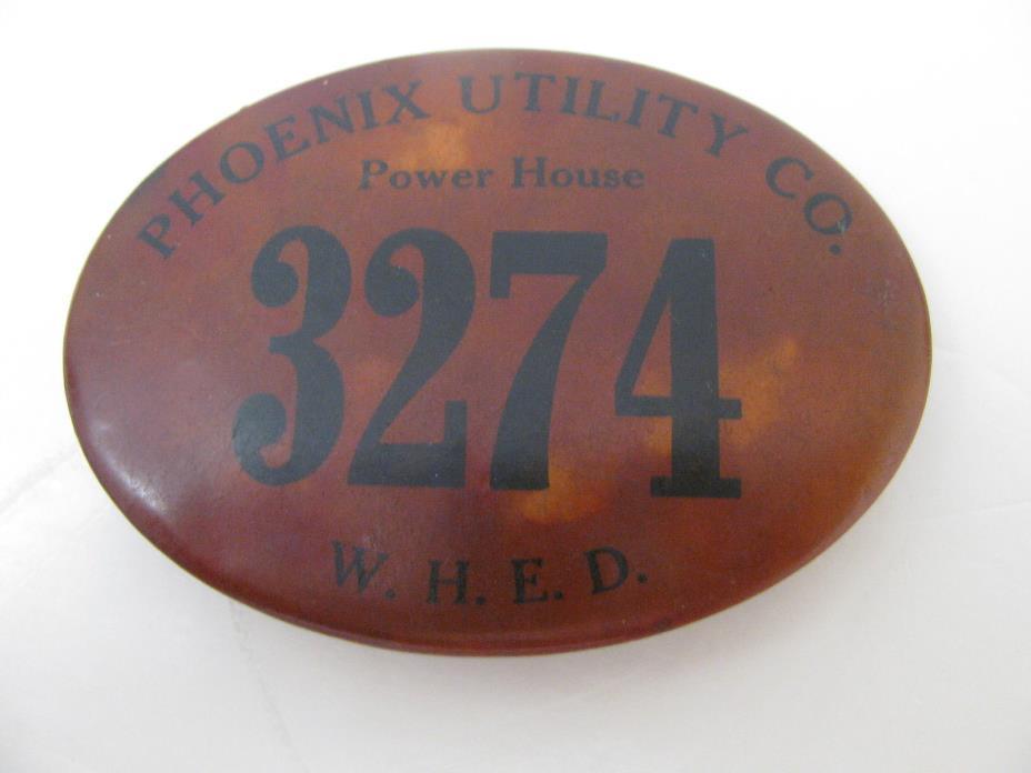 PHOENIX Utility Co  Power House #3274 W.H.E.D. Badge Pin