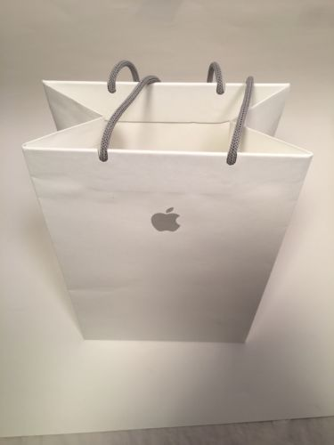 Apple Store white shopping bag 11 1/2 inches by 8 inches