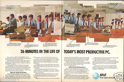 1986 2 Page Print Ad of AT&T PC 6300 Plus 80286 PC Computer