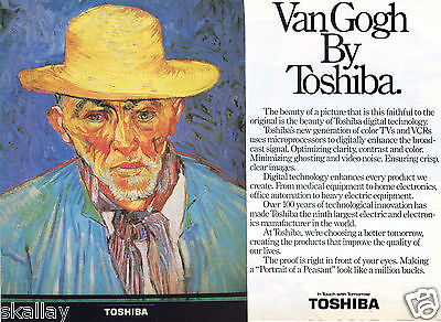 1986 2 Page Print Ad of Portrait of a Peasant Painting Van Gogh by Toshiba