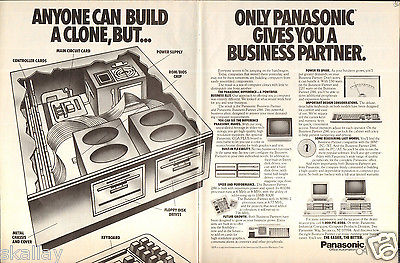 1986 2 Page Print Ad of Panasonic Business Partner 286 80286 PC Computer clone