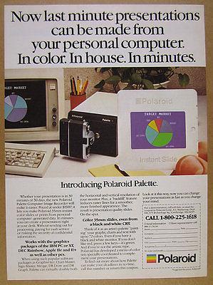 1984 Polaroid Palette Computer Image Recorder ibm pc photo vintage print Ad