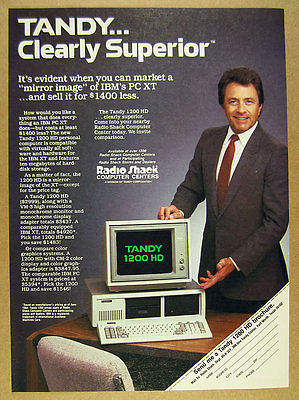 1984 Tandy 1200HD 1200 HD Computer & Monitor photo Radio Shack vintage print Ad