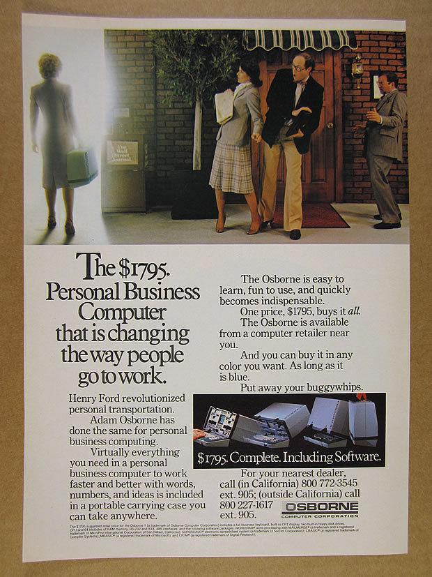 1982 Osborne Model 1 OCC1 Portable Computer photo vintage print Ad