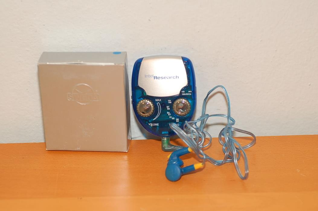 Intel advertisement Research Blue Radio w/ Earbuds Employee Giveaway