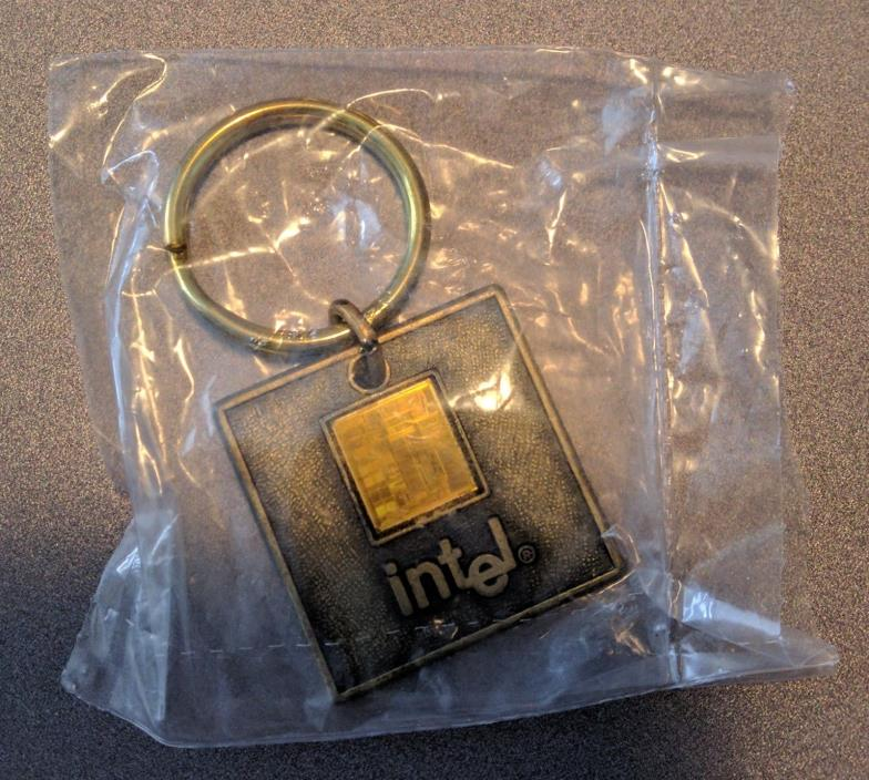 Intel Brass Computer Chip Key Fob Smithsonian 150th Anniversary 1996 NEW