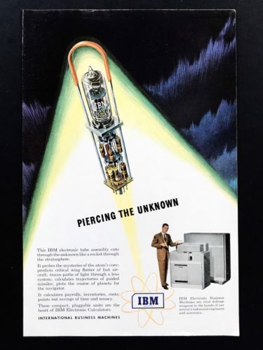 1951 Vintage Print Ad IBM International Business Machines Electronic Tube 50's