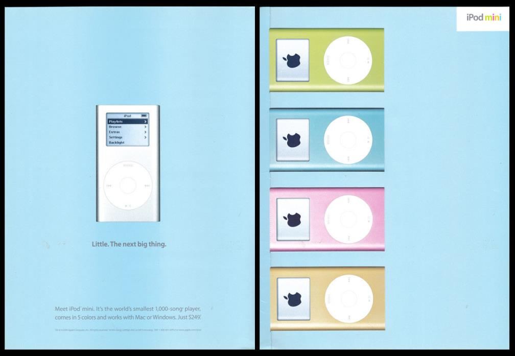 2004 print ad Apple product iPadmini The Next Big Thing cardstock, colors, flaps