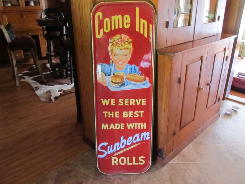 Sunbeam Rolls pink ribbon girl with tray embossed tin sign - date 1953 original