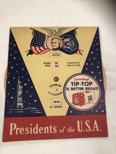 VINTAGE PRESIDENTS OF THE U.S.A. TIP-TOP BREAD AD MECHANICAL Wheel (C4-4)