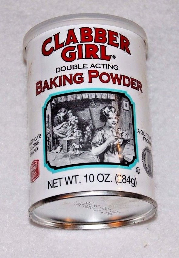 VINTAGE STYLE CLABBER GIRL BAKING POWDER  With Original Plastic Lid 10 OZ
