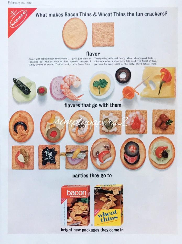 1963 Nabisco Bacon Thins & Wheat Thins Cracker Horderves Photo Print Ad