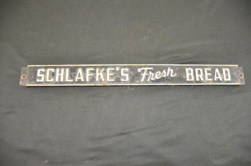 Vintage metal schlafke's fresh bread bakery sign 20