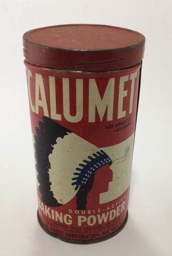 "VINTAGE 6"" CALUMET DOUBLE-ACTING BAKING POWDER TIN CAN W/ CHIEF INDIAN HEAD LOGO"